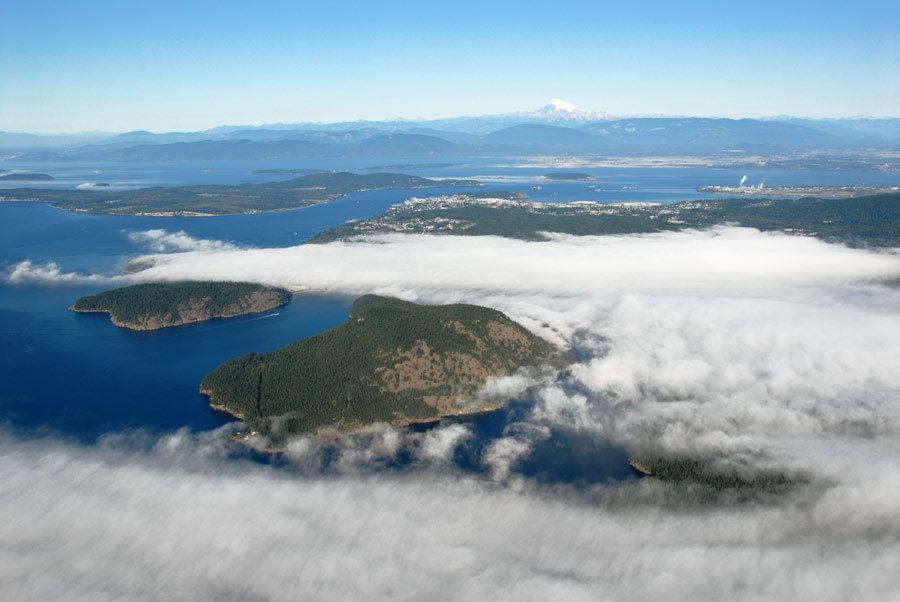 Over Fidalgo Island in Fog