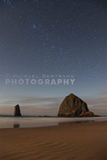 Haystack Rock Under a Starry Sky