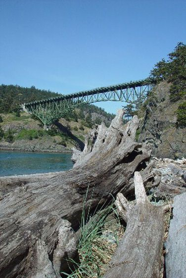 Deception Pass Bridge from Beach below 6-2004