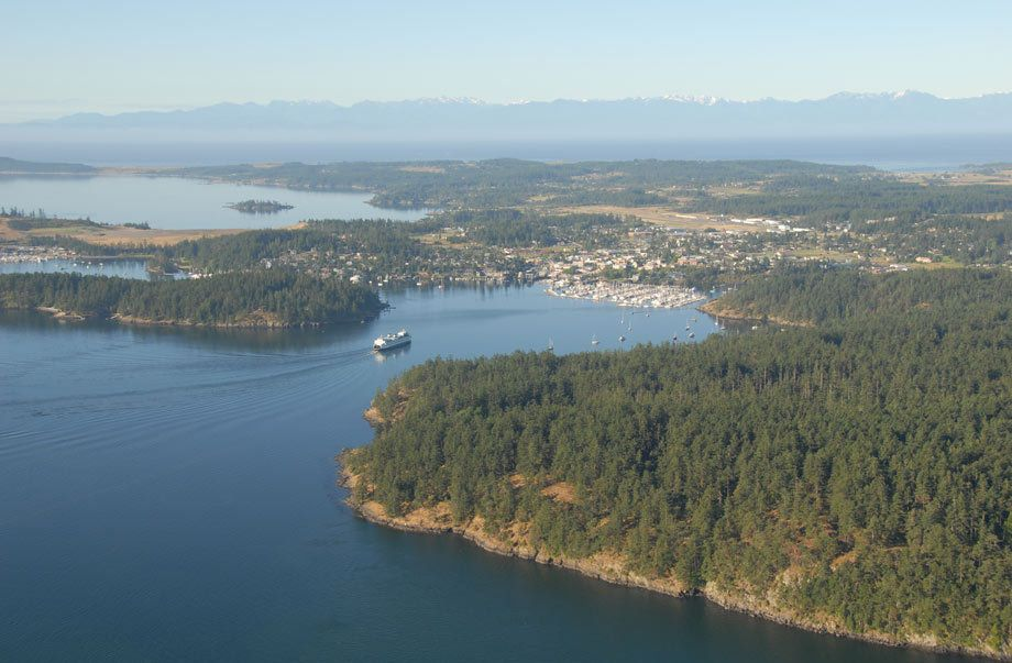 Over Friday Harbor with Olympic Mountains
