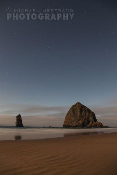 Moonlit Haystack Rock