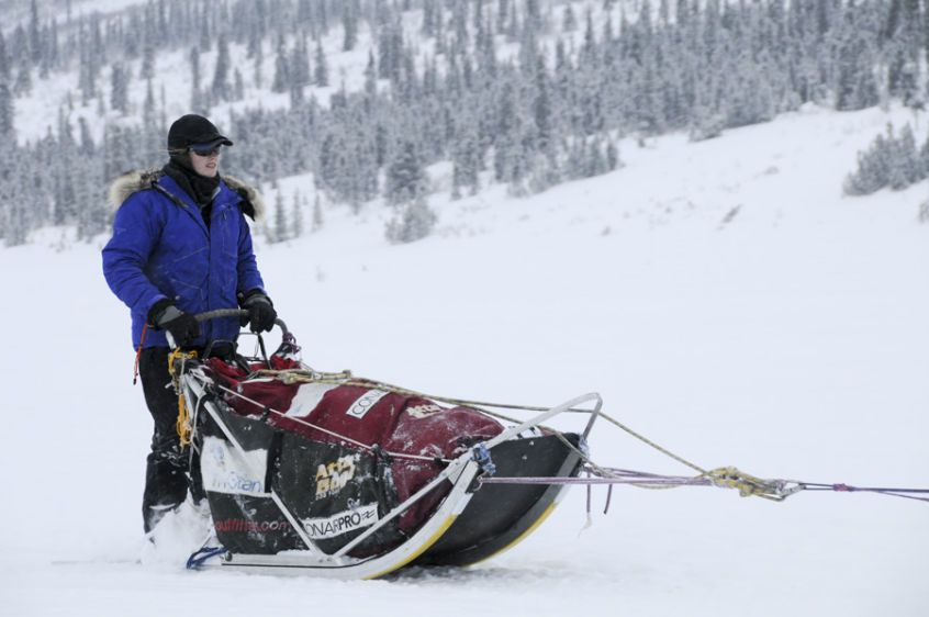 Rachael Scidoris of Bend, OR leaving Rainy Pass checkpoint in Iditarod 2009