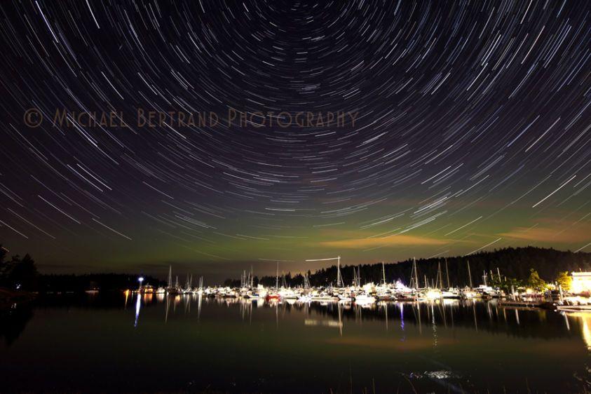 Roche Harbor Startrails w/ Aurora