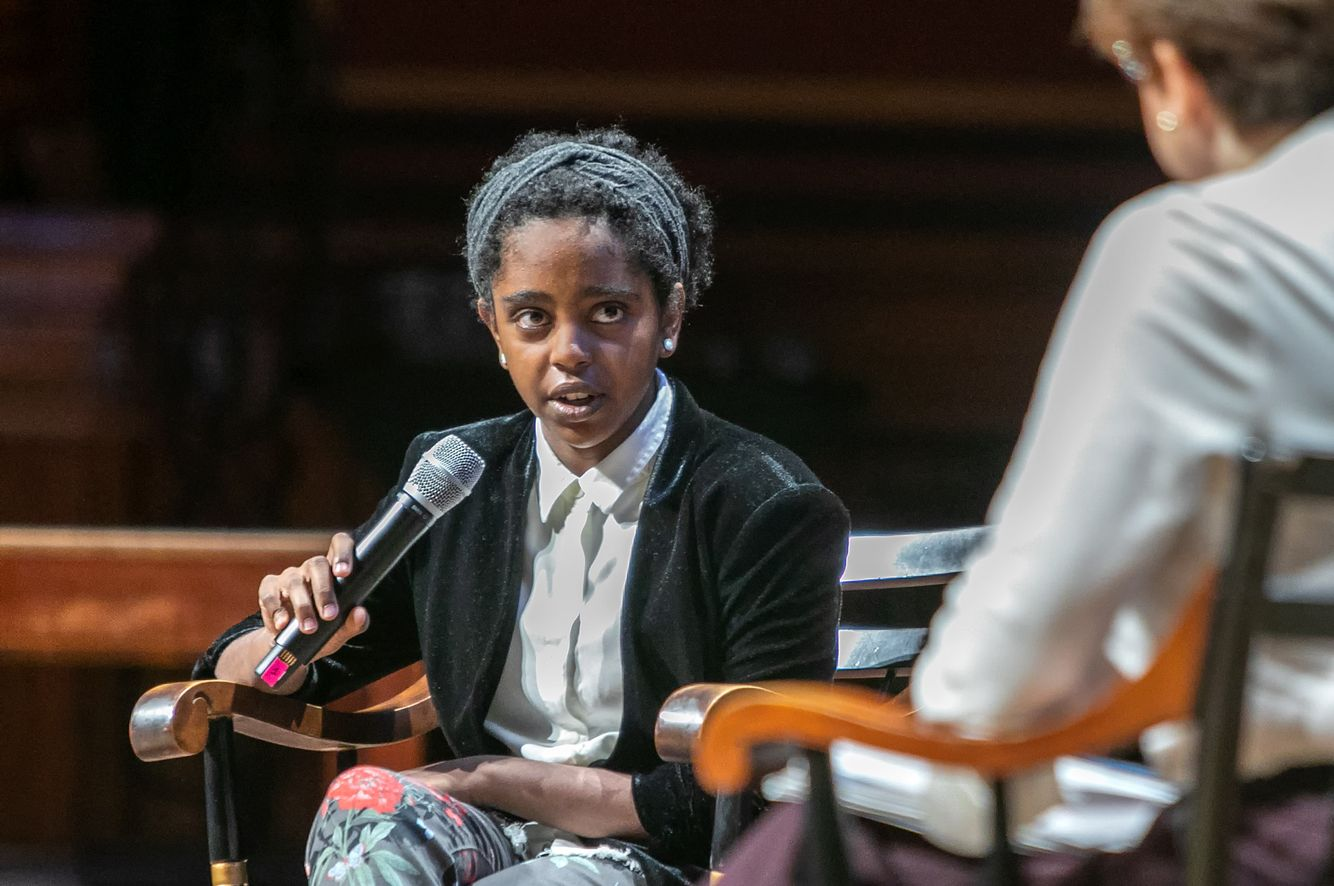 Naomi Wadler speaking at Vision and Justice Creative Conference