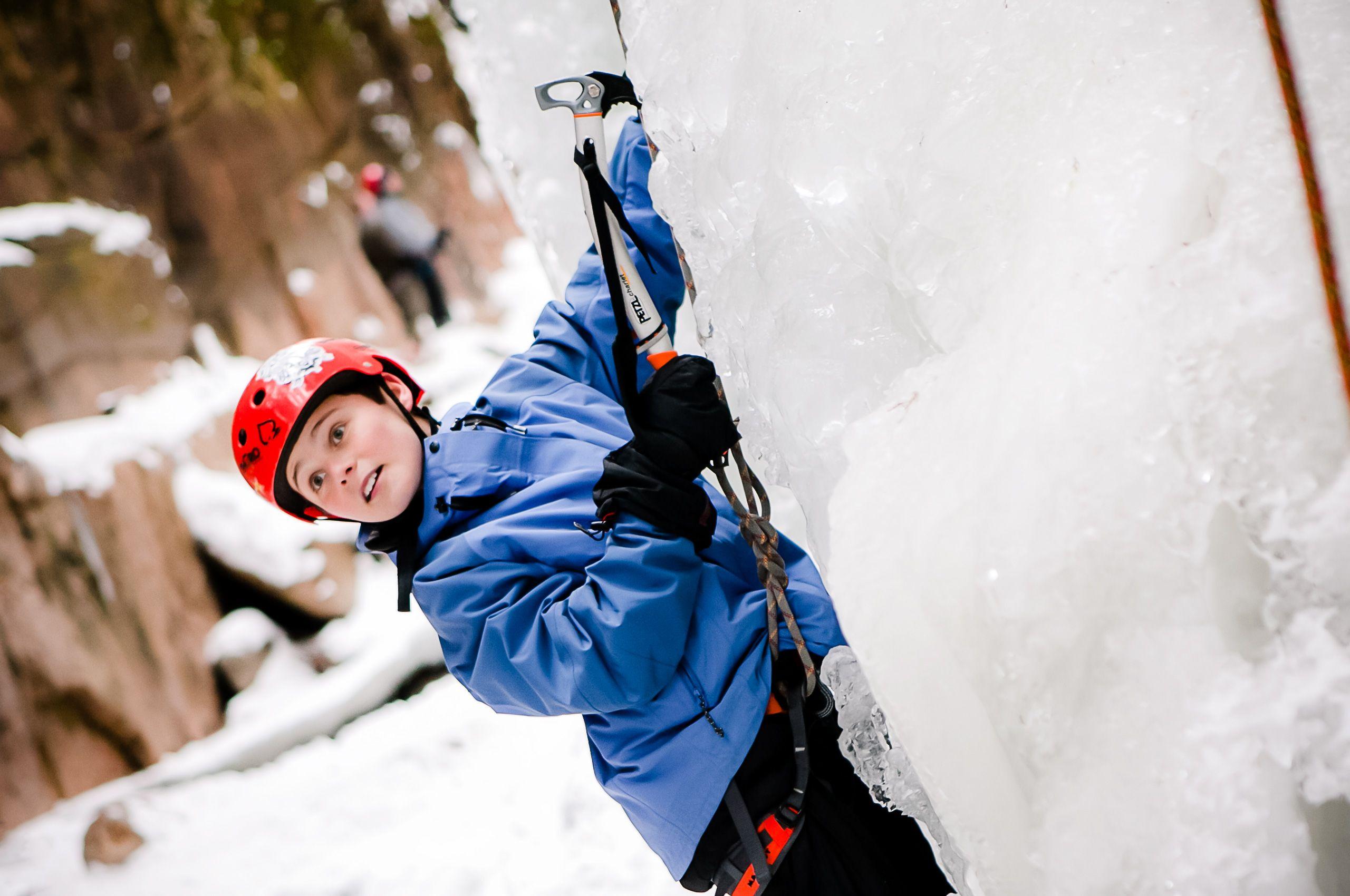 Boy Ice Climbing
