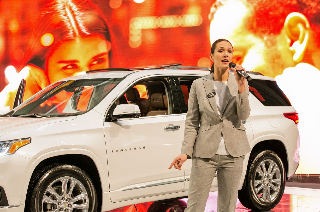 Woman Presenting at the New England International Auto Show