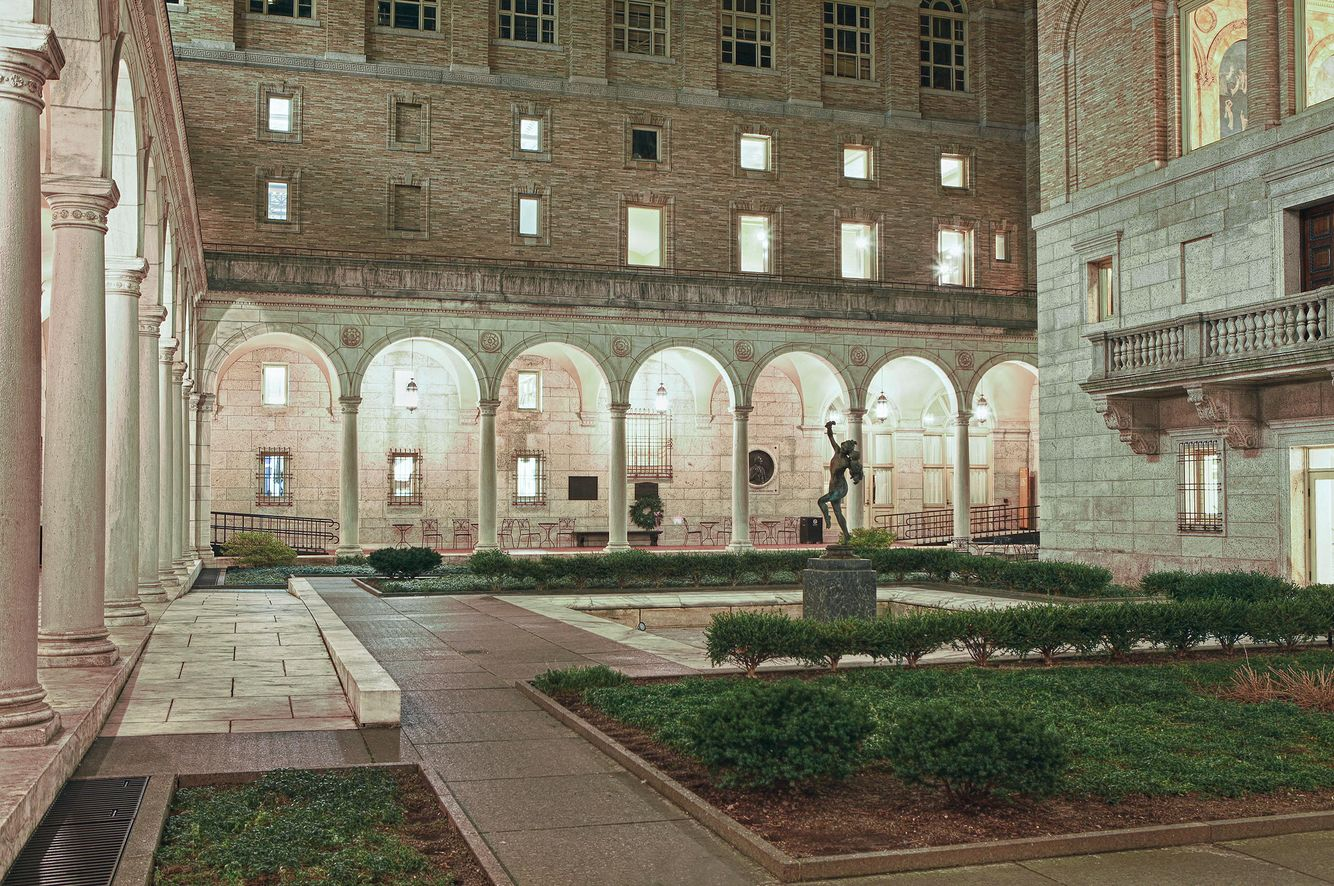 The Courtyard of the Central Library in Copley Square.