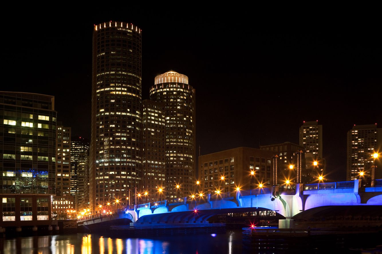 Night View of Boston Skyline.