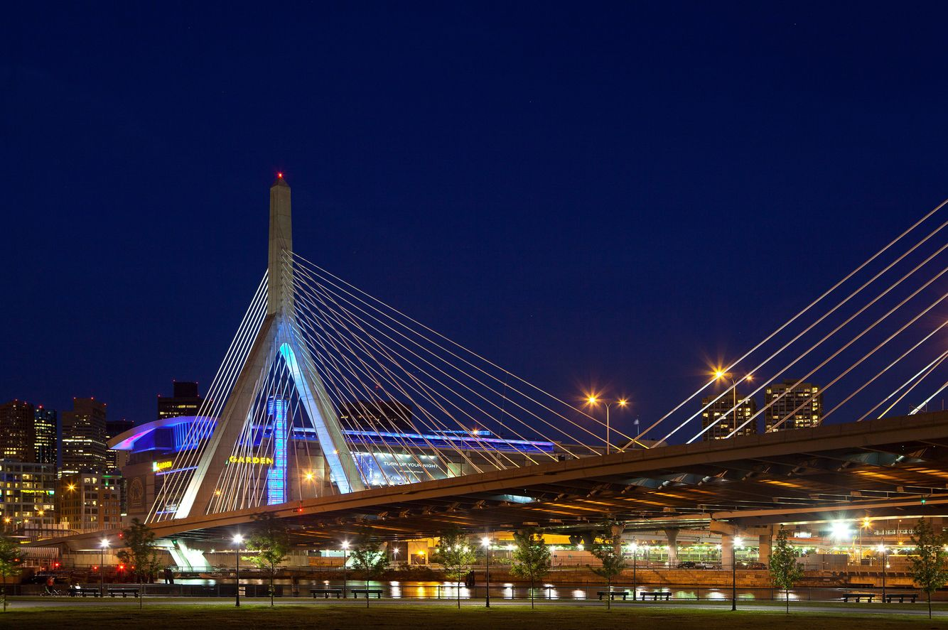 Zakim Bridge night view, Boston, MA