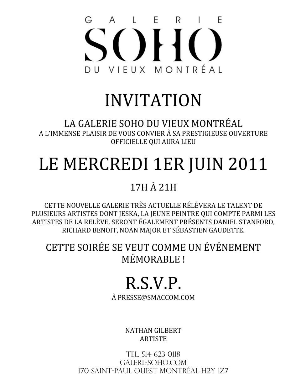 Opening / Ouverture Galerie SOHO