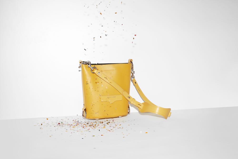 Mustard yellow leather bucket bag