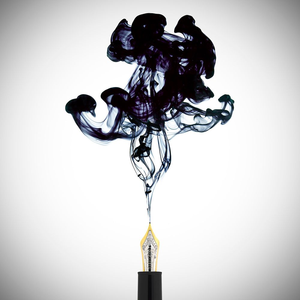 beautiful ink in water still life photo