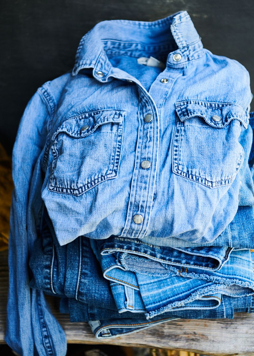 Denim shirt jacket and jeans