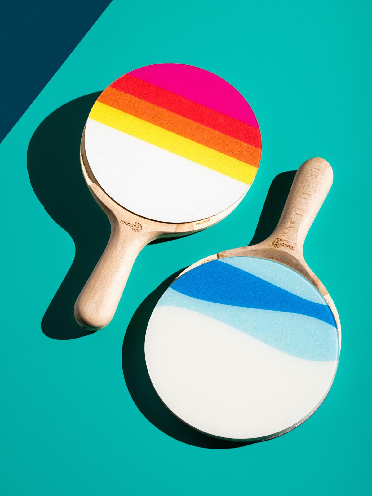 colorful ping pong paddles