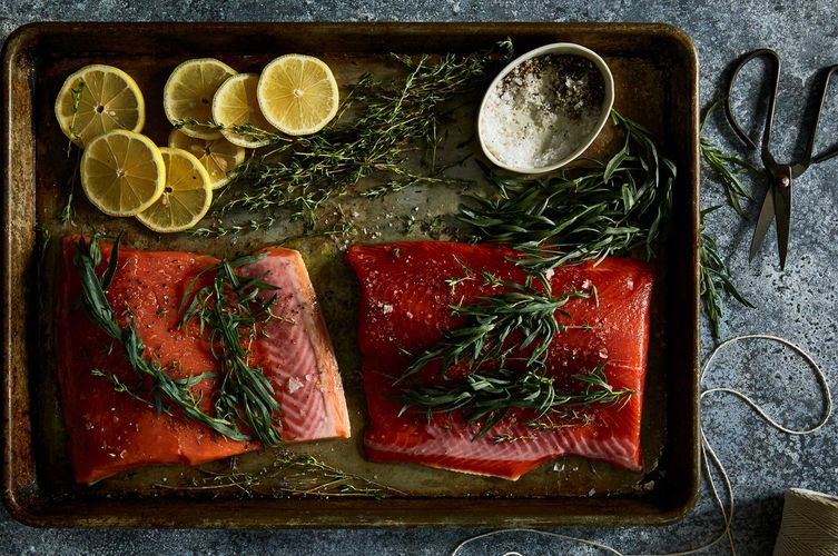 Food photo styling Salmon, sage, lemon