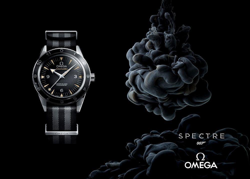 Inky black abstract ad for Omega