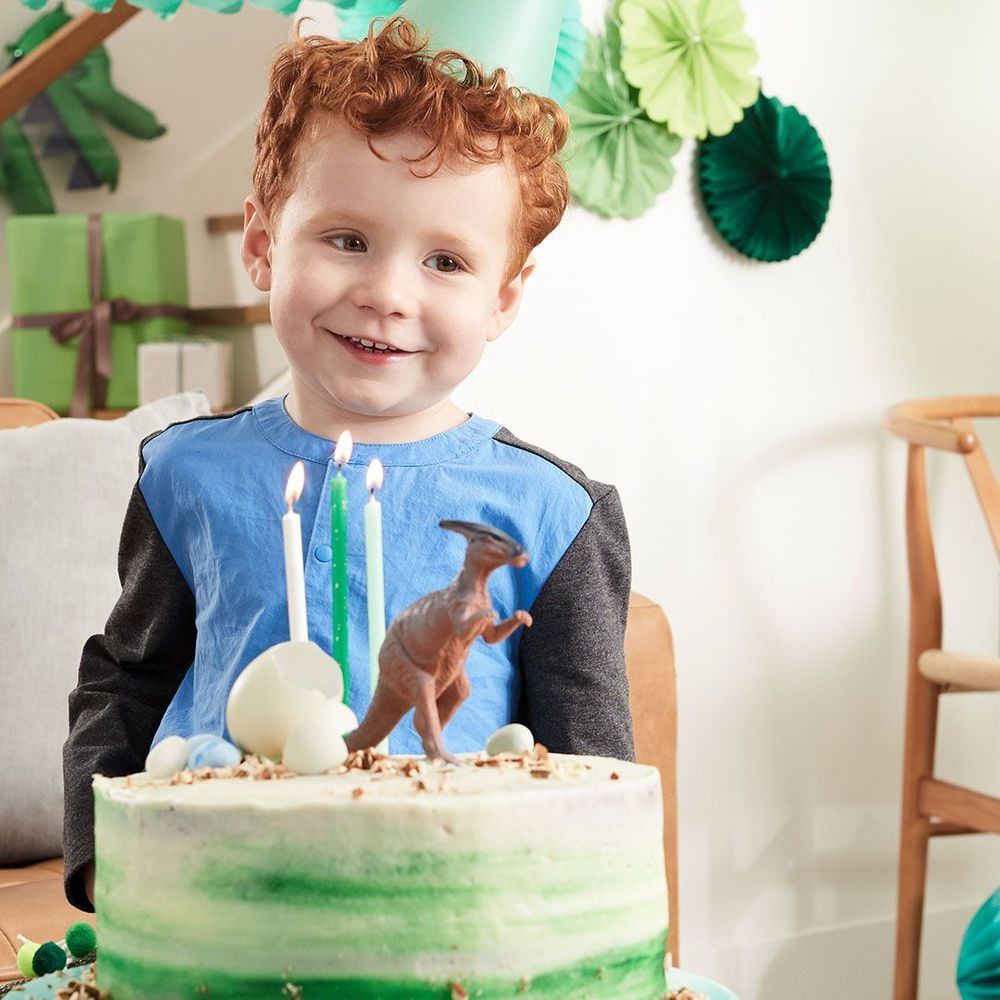 red headed little boy poses in front of a dinosaur theme birthday cake