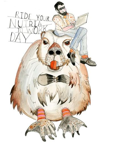 Stacy Milrany illustration of a man sitting on top of a giant Nutria.