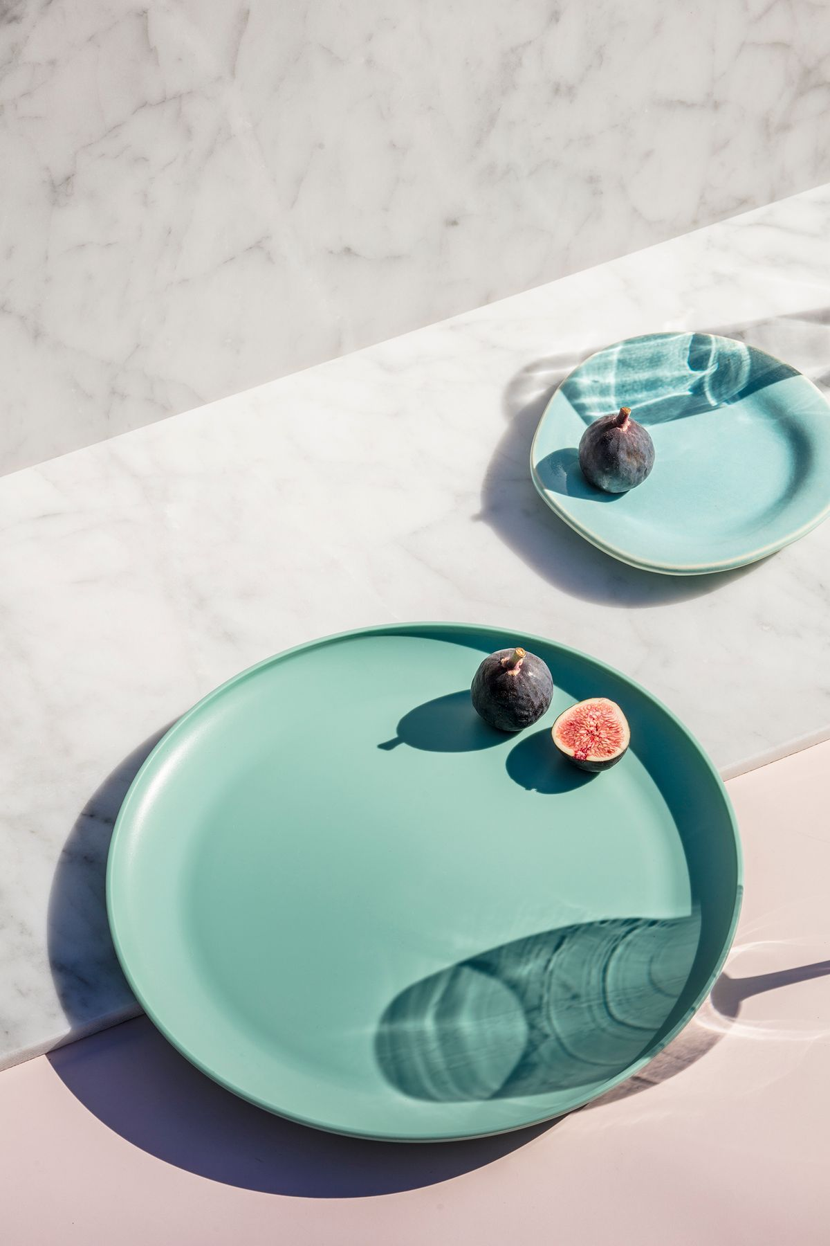 blue plates with fig