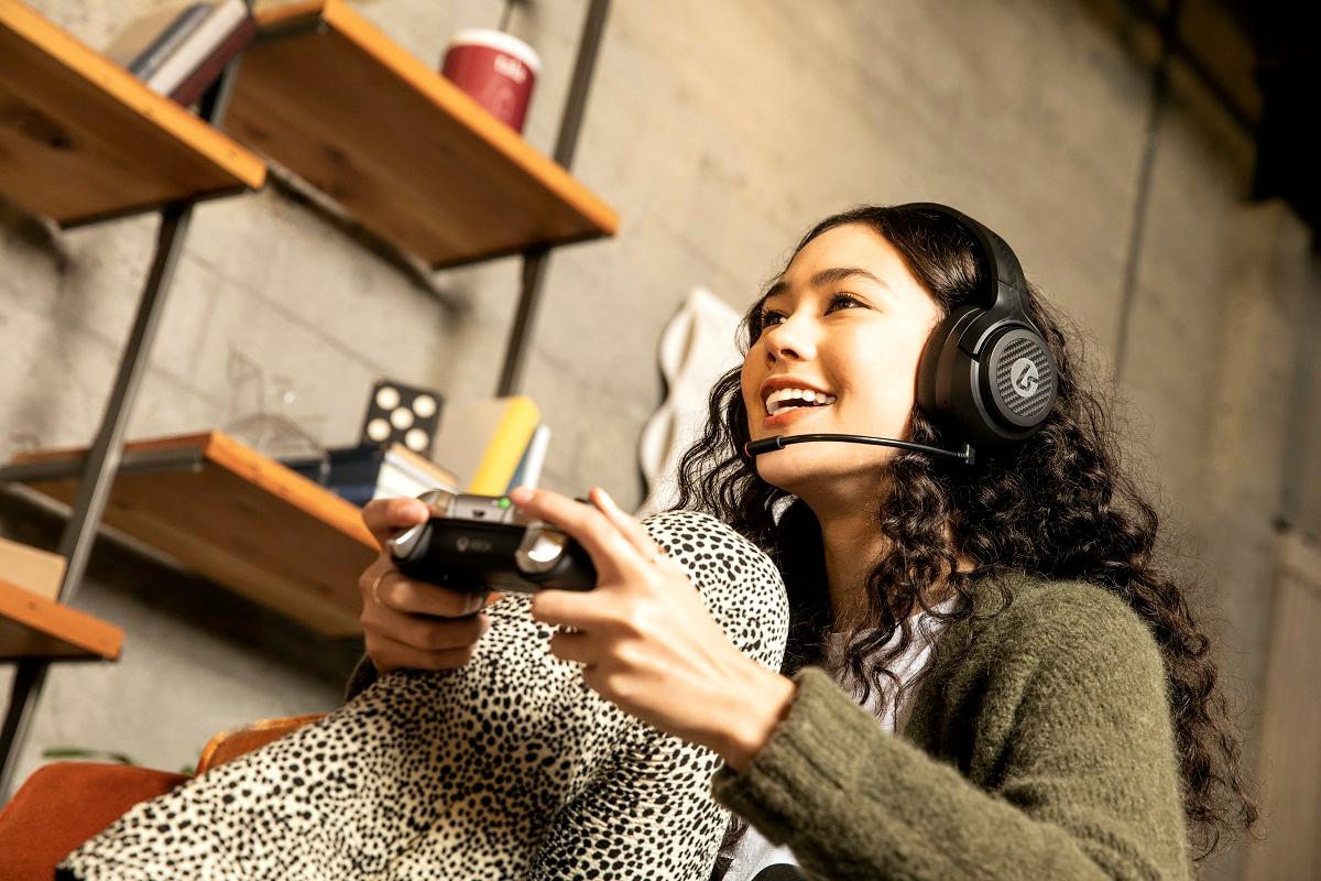 Headphones on teens