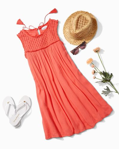 Summer style, coral sundress, sunglasses sun hat