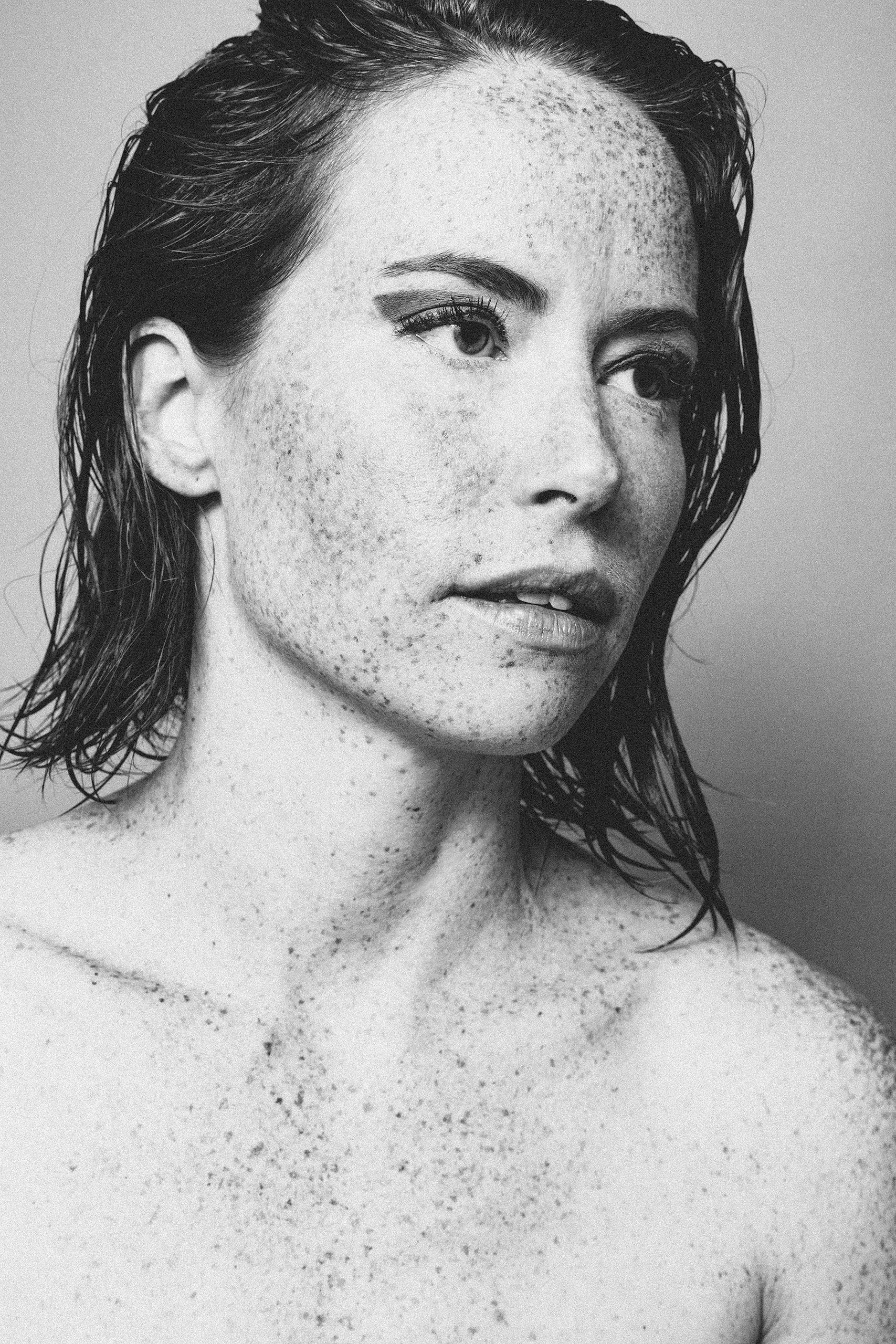 Beautiful model with freckles