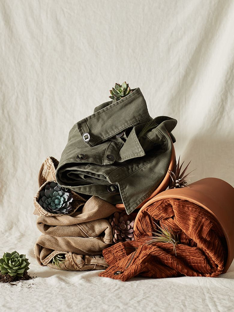 Succulents an d menswear styled for editorial shoot