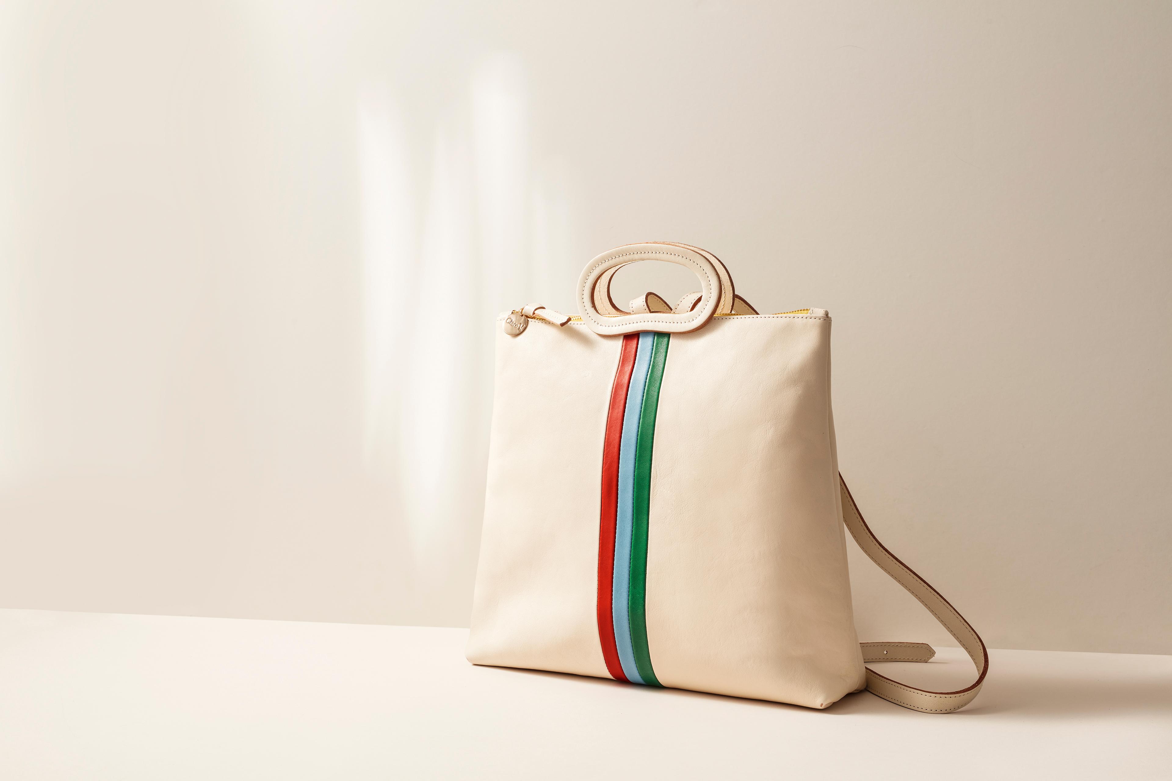 cream and stripe handbag