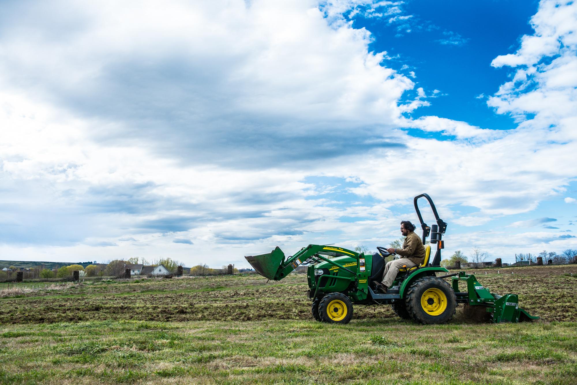John Deer tractor on farm