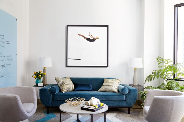 Lauren Koval Living room with Swimmer blue couch