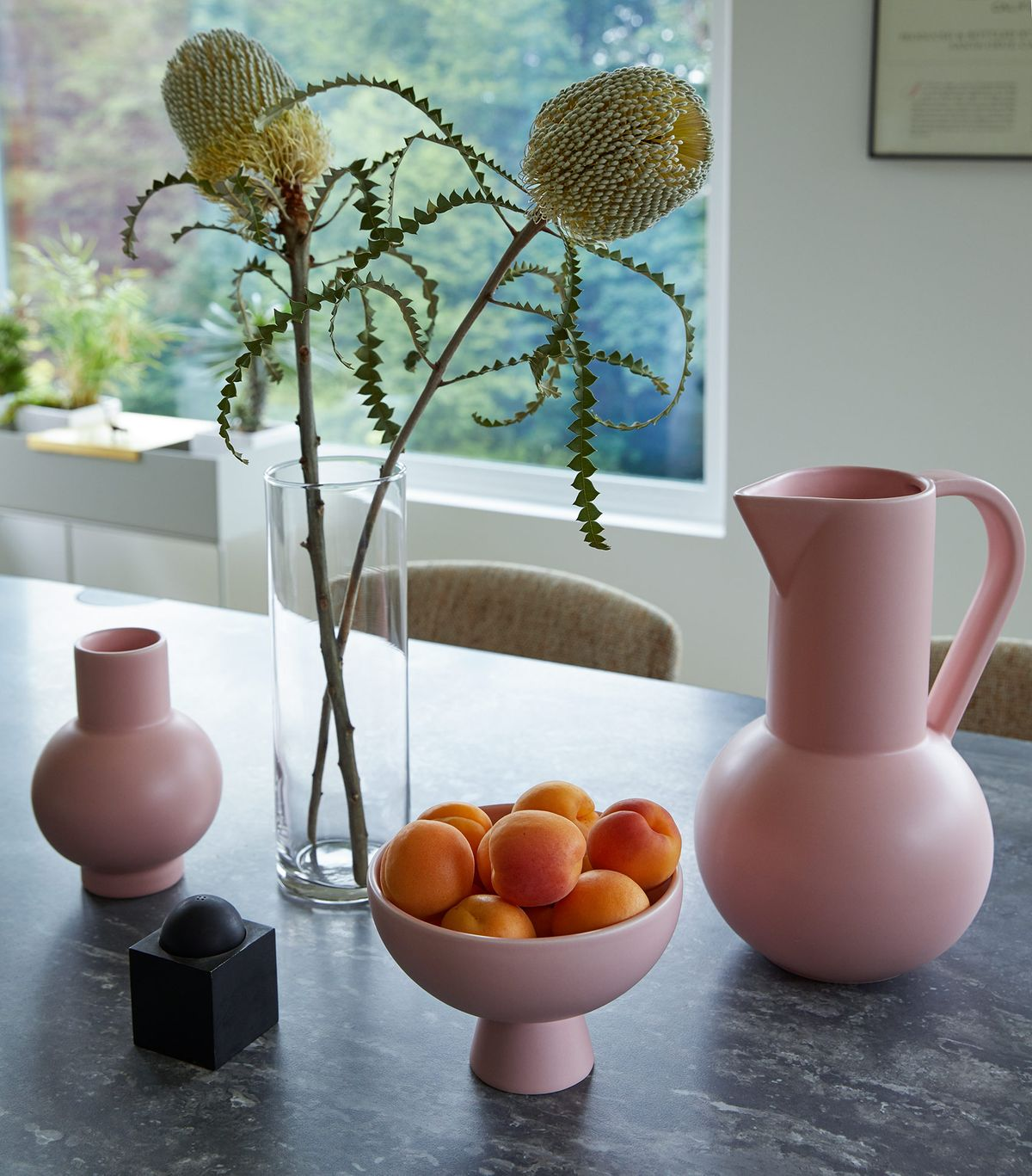 pink ceramics, tabletop, beautiful pottery and flowers
