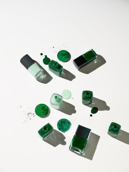 mint nail polish, green nail polish