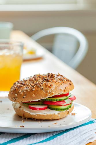 Veggie bagel styled by Rachel Grunig