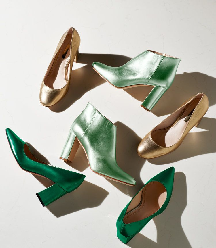 green and gold pumps and booties