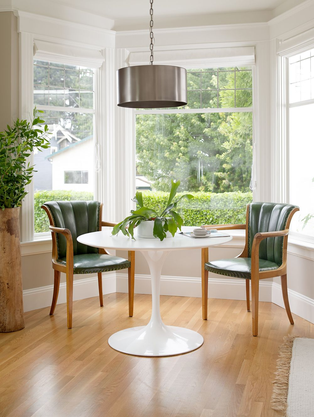 Green modern chairs modern white dining table