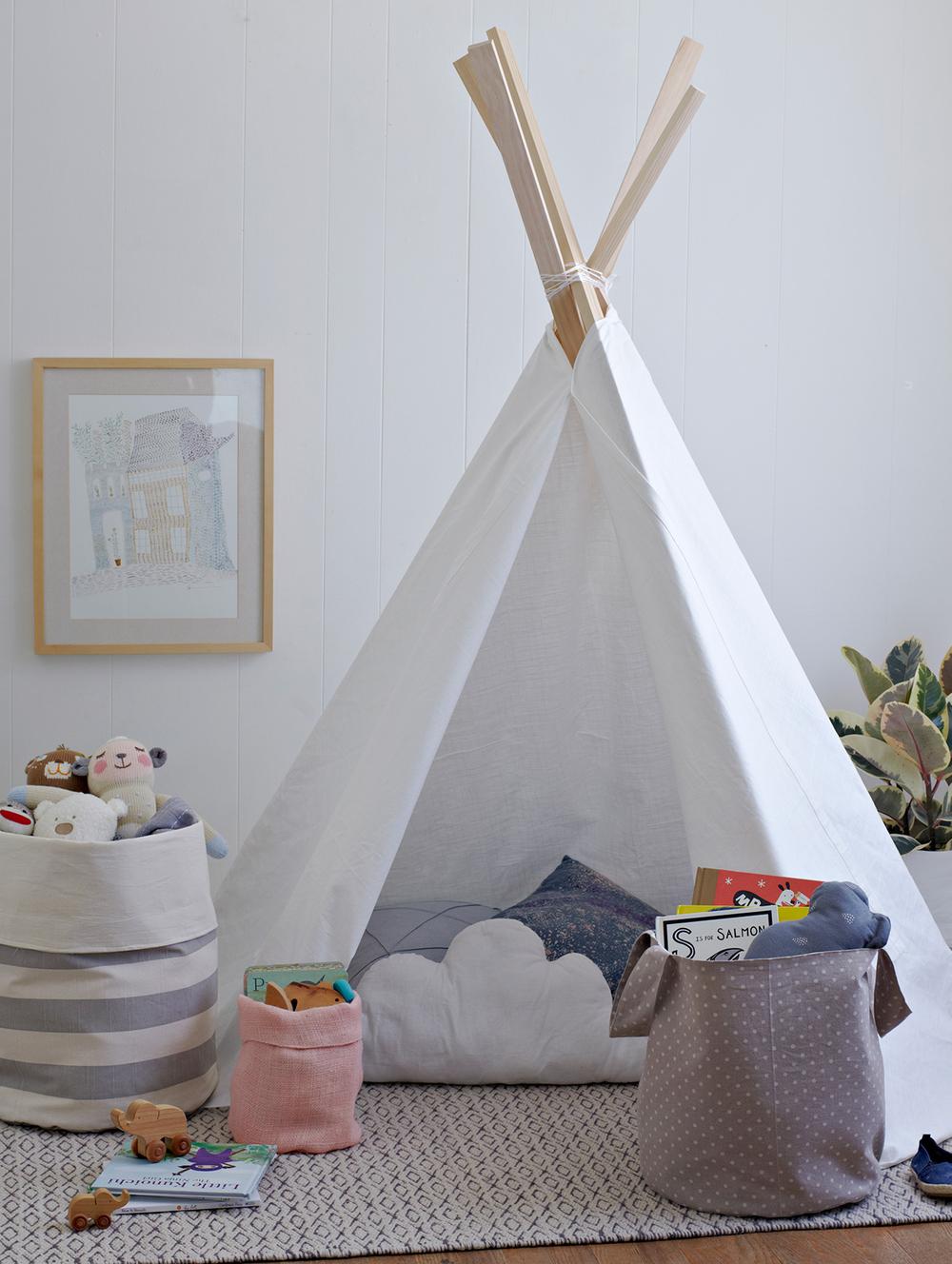 Teepee styled by interior photo stylist Rachel Grunig