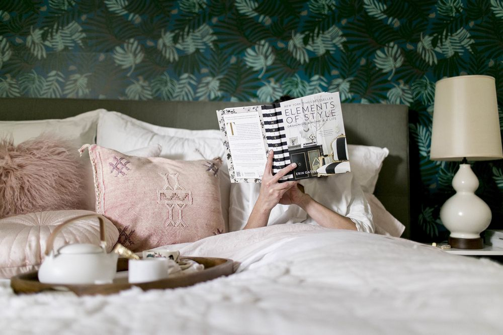 Lady reading book in bed, Elements of Style