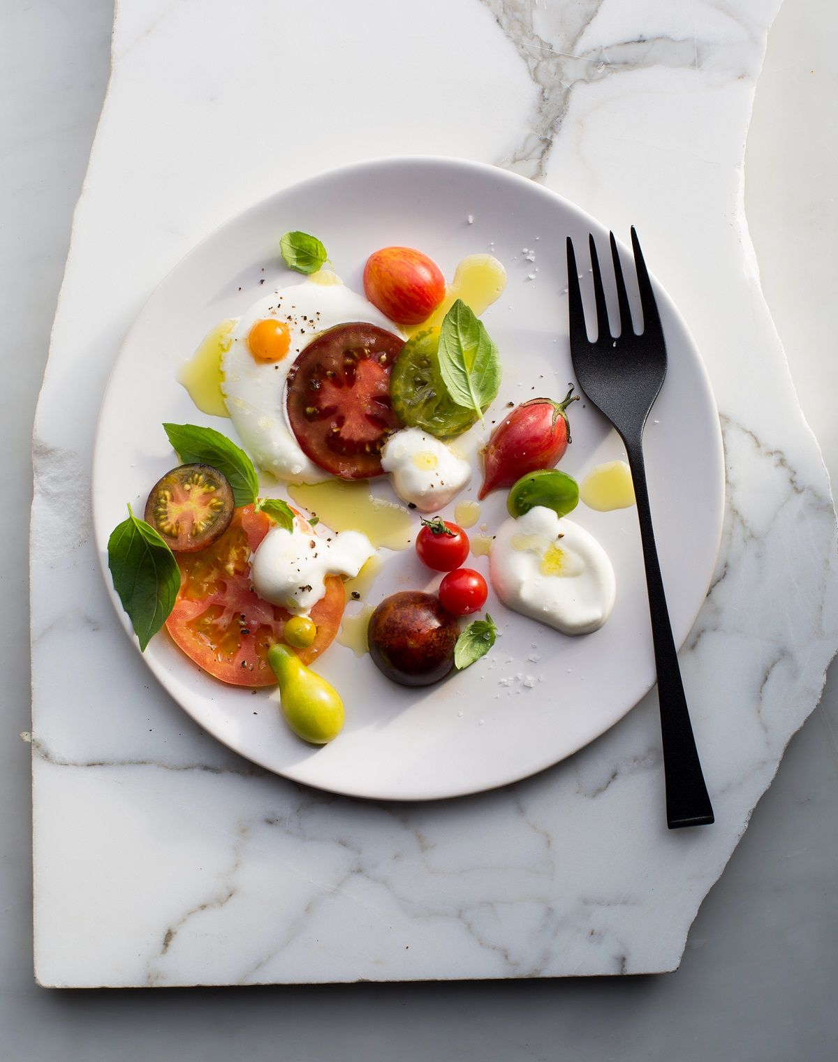 Perfect Bite caprese salad tomatoes cheese fork