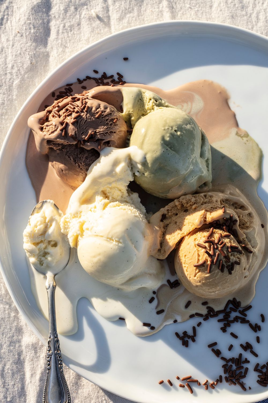 Pistachio,  salted caramel, vanilla and chocolate