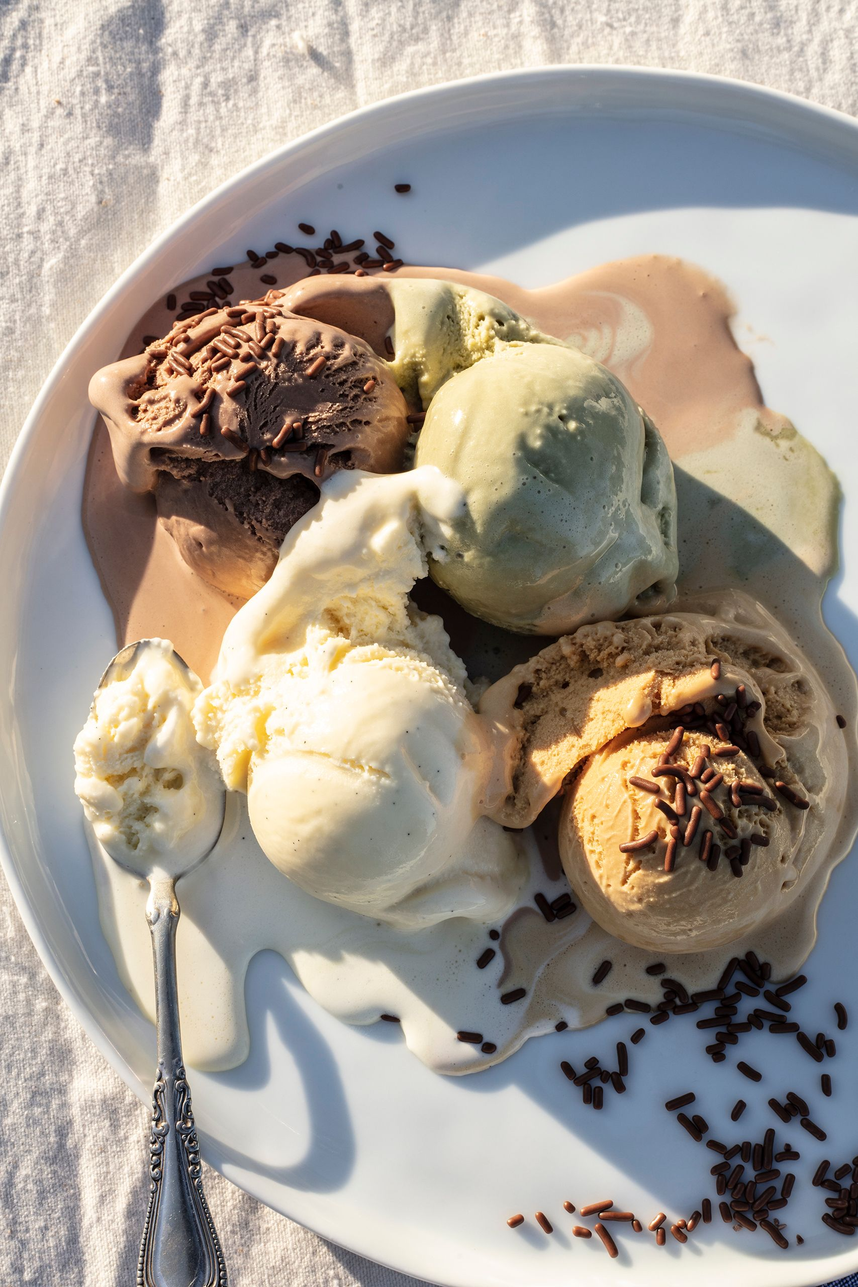 Pistachio,  salted caramel, vanilla and chocolate