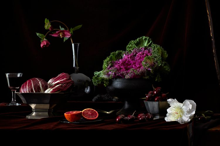 Vegetables, fruits and flowers tabletop