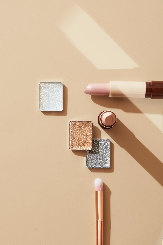 metallic and nude cosmetics