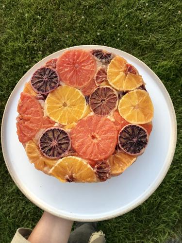 blood orange cake top