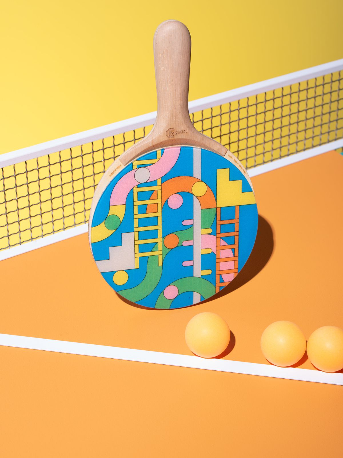 ping pong paddle with balls