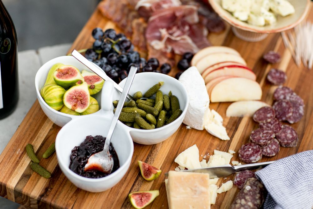Figs, cornichons, jam and proscuitto