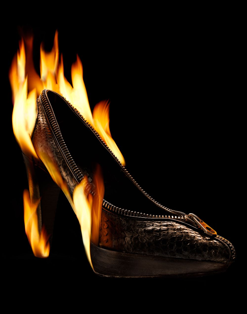 advertising footwear, pumps on fire