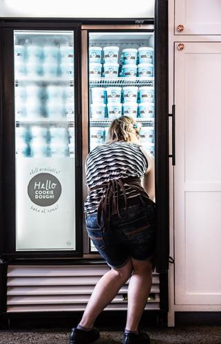 Ice cream shop fridge restock