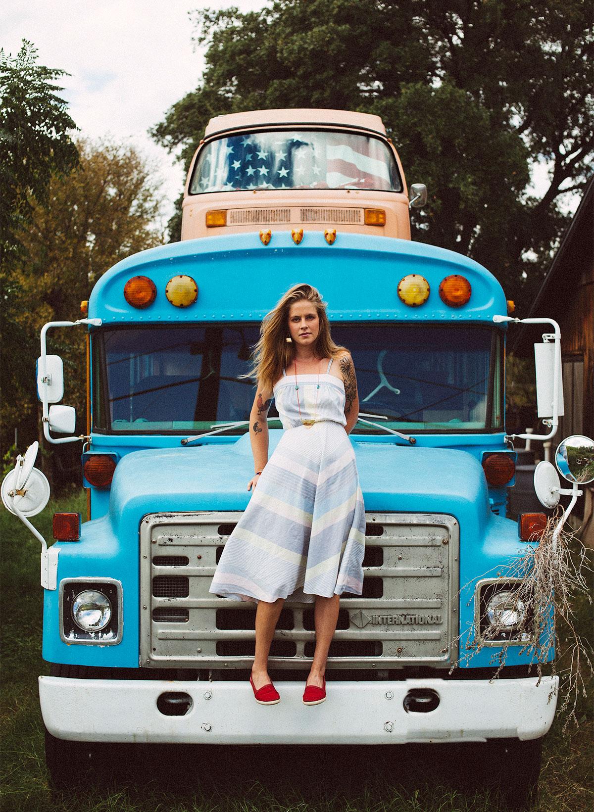 Girl on bus