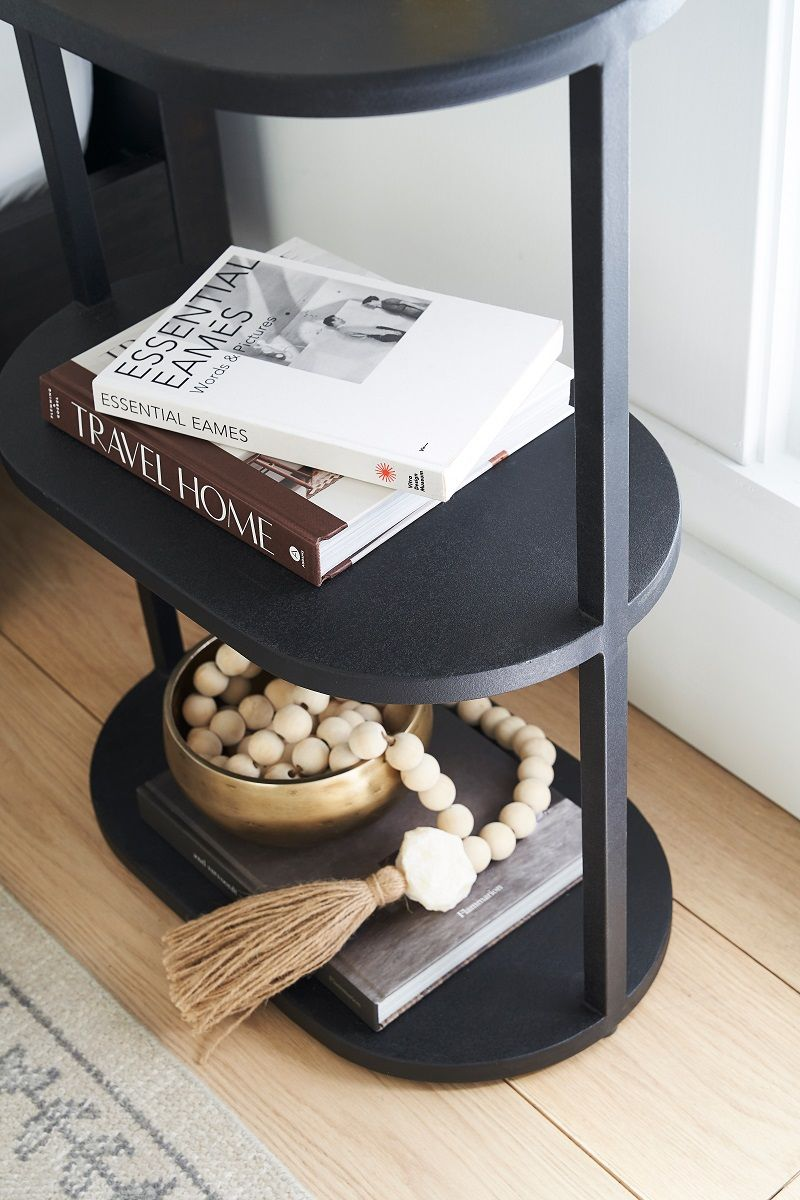 Side table with books