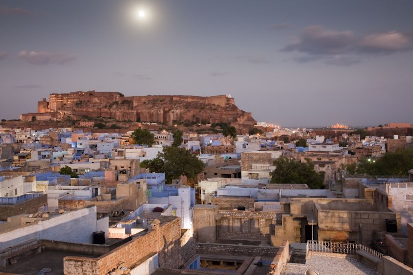 Blue City with Full MoonJodhpur, India